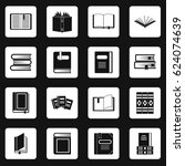 books icons set in white... | Shutterstock .eps vector #624074639
