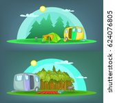camping 2 horizontal banners... | Shutterstock .eps vector #624076805