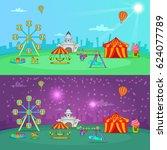 circus banner set horizontal... | Shutterstock .eps vector #624077789