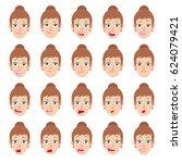cartoon businesswoman character.... | Shutterstock .eps vector #624079421