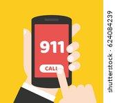 call 911. emergency call. hand...   Shutterstock .eps vector #624084239