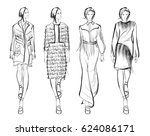 sketch. fashion girls on a... | Shutterstock .eps vector #624086171