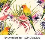 vector tropical summer pattern ... | Shutterstock .eps vector #624088301