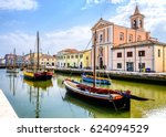 old town and harbor of cesenatico - italy - stock photo