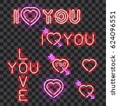 set of glowing neon signs i... | Shutterstock .eps vector #624096551
