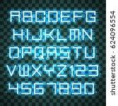 glowing azure neon alphabet... | Shutterstock .eps vector #624096554