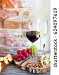 wine snack set. glass of red... | Shutterstock . vector #624097619