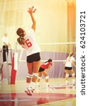 unidentifiable woman volleyball ... | Shutterstock . vector #624103721