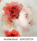 watercolor portrait of a... | Shutterstock . vector #624110714