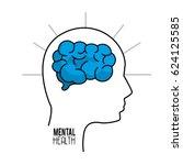 mental health silhouette person ... | Shutterstock .eps vector #624125585