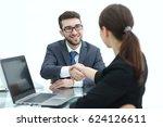 business people closing a deal... | Shutterstock . vector #624126611