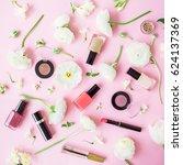 feminine desk with cosmetics ... | Shutterstock . vector #624137369