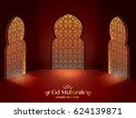 eid mubarak greeting card....   Shutterstock .eps vector #624139871