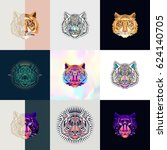 set of tiger logos. abstract... | Shutterstock .eps vector #624140705