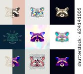 set of raccoon logos. abstract... | Shutterstock .eps vector #624141005
