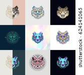 set of wolf logos. abstract... | Shutterstock .eps vector #624141065