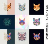 set of fox logos. abstract... | Shutterstock .eps vector #624141131
