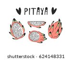 hand drawn set of tropical... | Shutterstock .eps vector #624148331