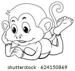 doodle animal for happy monkey... | Shutterstock .eps vector #624150869