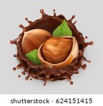 hazelnut and chocolate splash.... | Shutterstock .eps vector #624151415