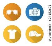 summer items flat design long... | Shutterstock .eps vector #624153671