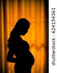 Silhouette Of Asian Pregnant...