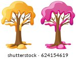 trees with yellow and pink cream | Shutterstock .eps vector #624154619