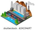 power station and bridge across ... | Shutterstock .eps vector #624154697