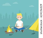 camping in forest. young... | Shutterstock .eps vector #624156329