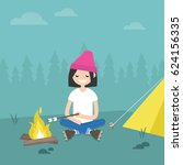 camping in forest. young female ... | Shutterstock .eps vector #624156335