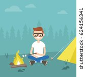 camping in forest. young... | Shutterstock .eps vector #624156341