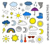 collection of doodle weather... | Shutterstock .eps vector #624157955