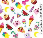 fashionable stickers on a white ... | Shutterstock .eps vector #624158627
