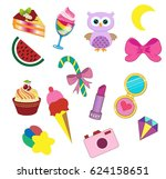 fashionable stickers on a white ... | Shutterstock .eps vector #624158651
