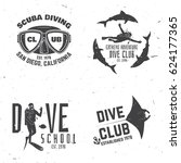 scuba diving club. vector... | Shutterstock .eps vector #624177365