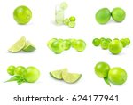 collection of limes on a... | Shutterstock . vector #624177941