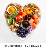 heart shaped plate of healthy... | Shutterstock . vector #624181235