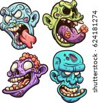 cartoon zombie heads. vector... | Shutterstock .eps vector #624181274