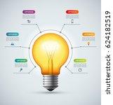 lightbulb infographic template... | Shutterstock .eps vector #624182519