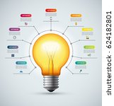 lightbulb infographic template... | Shutterstock .eps vector #624182801