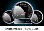 vector realistic car dashboard speedometer - stock vector