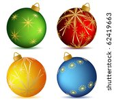 christmas vector balls with... | Shutterstock .eps vector #62419663