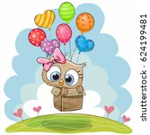 cute owl in the box is flying... | Shutterstock .eps vector #624199481