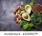 vegan fat sources  flax ... | Shutterstock . vector #624200279