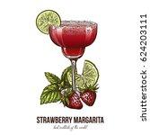 strawberry margarita cocktail... | Shutterstock .eps vector #624203111