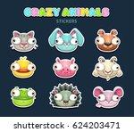 comic crazy animal faces set.... | Shutterstock .eps vector #624203471