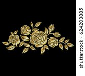 golden roses embroidery on... | Shutterstock .eps vector #624203885