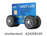 credit card with car wheels ...   Shutterstock . vector #624208139