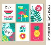 a modern set of bright summer... | Shutterstock .eps vector #624210311