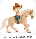 cute little girl in a cowboy... | Shutterstock .eps vector #624212789